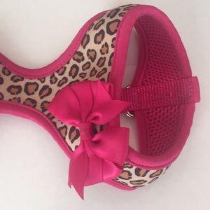 Cheetah Print&Pink Satin Bow Puppy Harness/collar